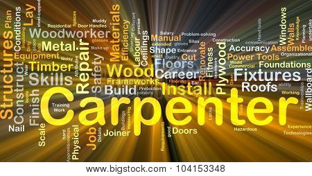Background concept wordcloud illustration of carpenter glowing light