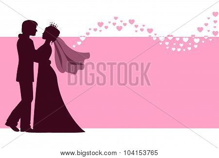 Bride and groom at the wedding background
