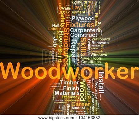 Background concept wordcloud illustration of woodworker glowing light