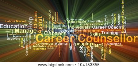 Background concept wordcloud illustration of career counsellor glowing light
