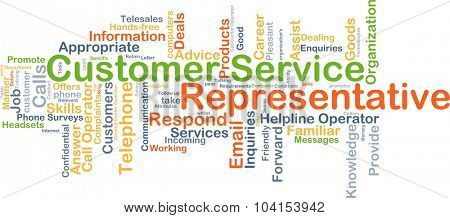 Background concept wordcloud illustration of customer service representative