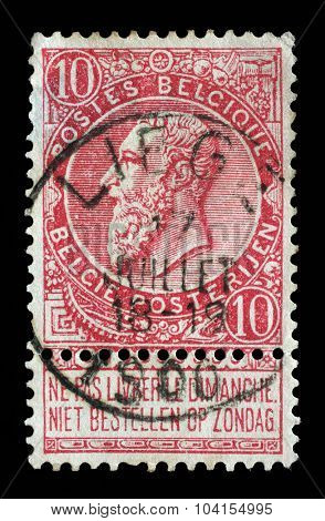 BELGIUM - CIRCA 1893: a stamp printed in the Belgium shows King Leopold II of Belgium, circa 1893