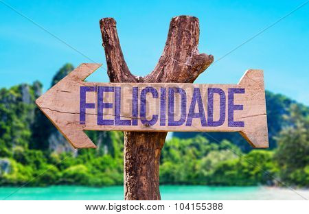 Happiness (in Portuguese) arrow with beach background