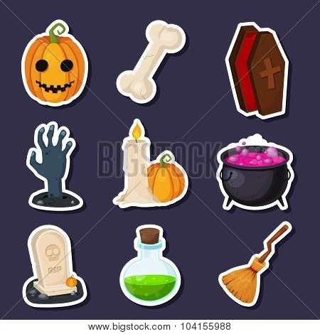 Set Of Happy Halloween vector flat icons with shadow