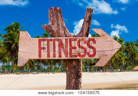 Fitness arrow with beach background