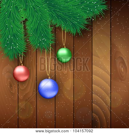 Christmas Wooden Background With Red Ball