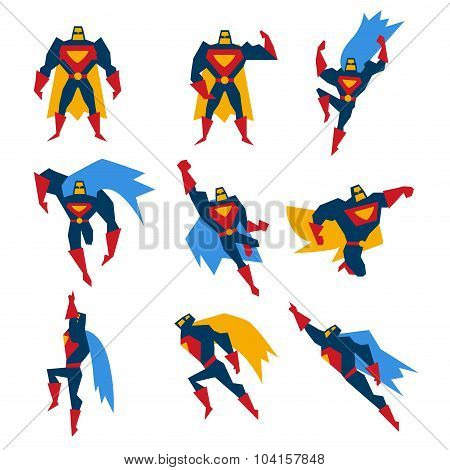 Superman Poses Set Vector Illustration