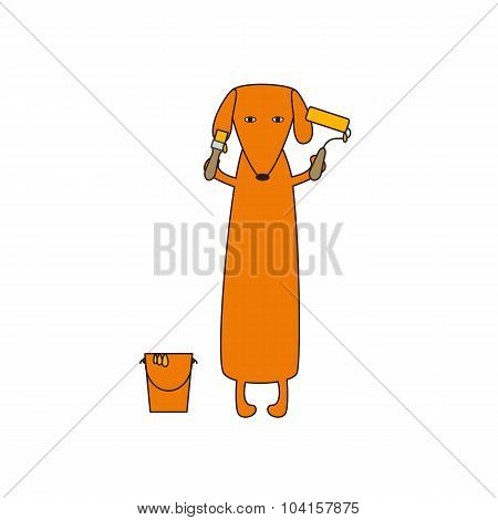 Dog With Paint Bucket, Roller And Brush
