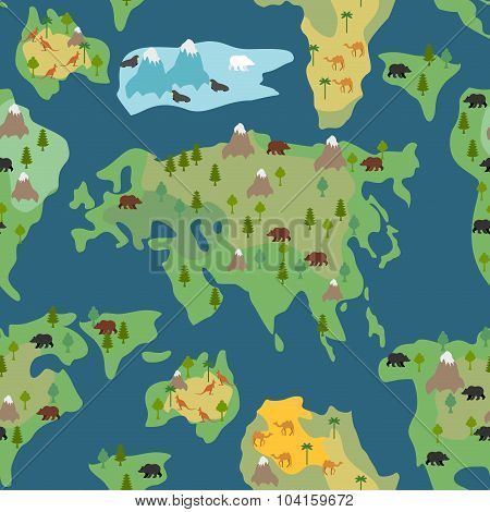 Continents Seamless Pattern. World Map Is Endless Ornament. Geographical Atlas With Flora And Fauna