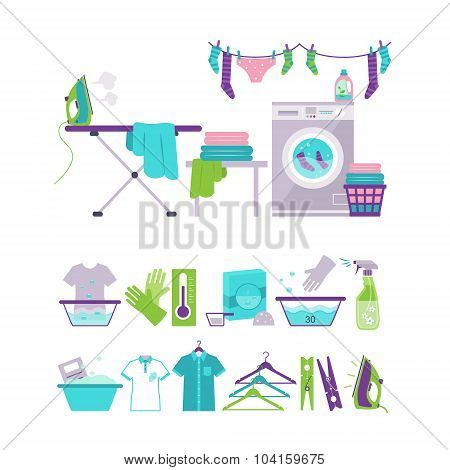 Colored Washing and Laundry Icons in Flat Style Vector Illustration Set