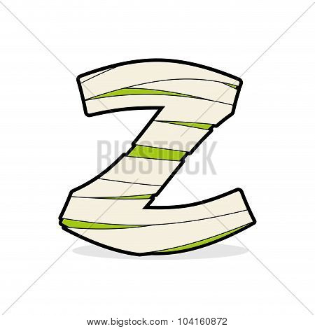 Letter Z Egyptian Zombies. Mummy Abc Icon Coiled Medical Bandages. Monster Template Elements Alphabe