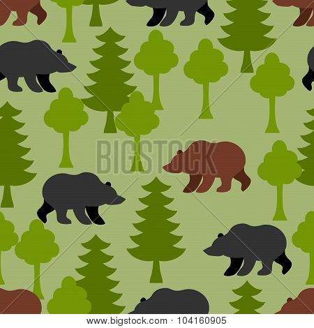 Bears In  Woods As A Seamless Pattern.  Grizzly And  Trees. Ornament Animals Of Alaska. Russian Bear