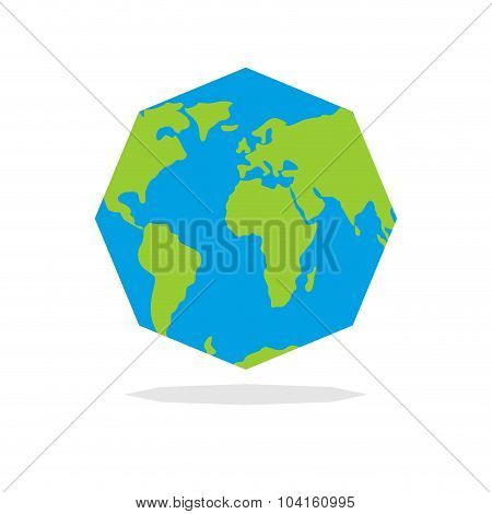 Octagon Planta  Earth. World Map In Geometric Figure.