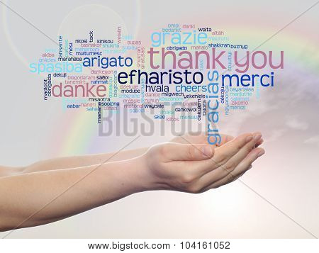 Concept or conceptual abstract thank you word cloud held in hands in different languages or multilingual for education or Thanksgiving Day over rainbow sky