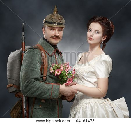 German Soldiers Of The First World War, With His Lady