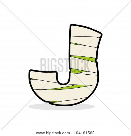 Letter J Mummy. Typography Icon In Bandages. Horrible Egyptian Elements Template Zombies Alphabet. A