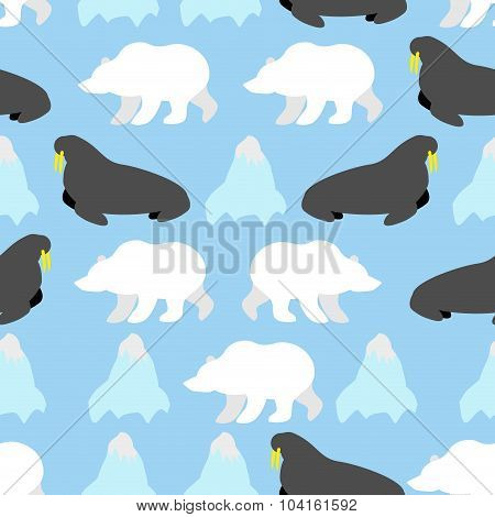 Walrus And Polar Bear Seamless Pattern. Background Of Nordic Animals And Iceberg. Arctic Animals. Or