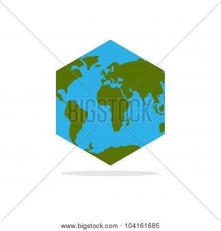 Hexagonal Atlas Of Earth. World Map With Continents Geometric Figure
