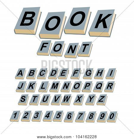 Font Book. Alphabet On Covers Of Book.  Abcs Of Log On Vintage Hardcover Book. Old Book With Lett
