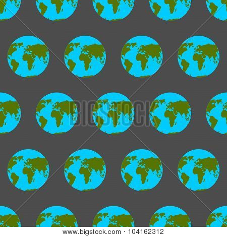 Planet Earth With Continents And Oceans Seamless Pattern. Background Of Atlases For Tissue