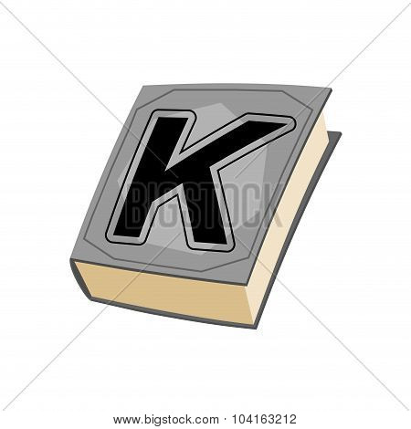 Letter K And On Cover Of Book. Old Edition With Alphabetical Icon. Concept Of Template Elements Abc