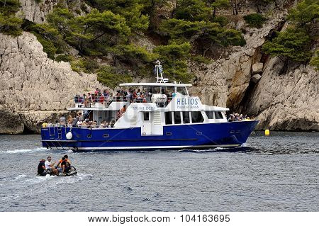 Tourists On Boat Along The Creeks Of Marseille