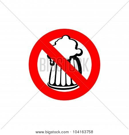 Stop Beer. Forbidden Alcohol. Frozen Silhouette Mugs With Beer And Foam. Emblem Antialcoholic Compan