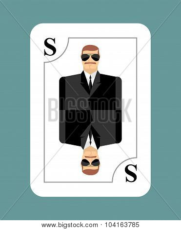 Playing Card Secret Agent, Scout, Spy. Conceptual New Card People In Costume. During Game, Learn Hid