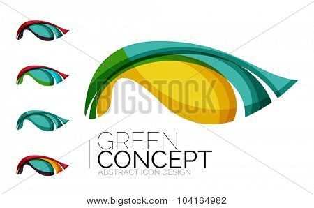 Set of abstract eco plant icons, business logotype nature green concepts, clean modern geometric design. Created with transparent abstract wave lines