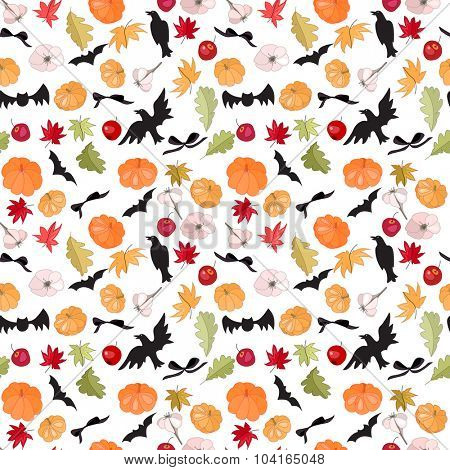 Seamless Halloween pattern with pumpkins and bats on white. Endless festive texture for design, announcements, postcards, posters.