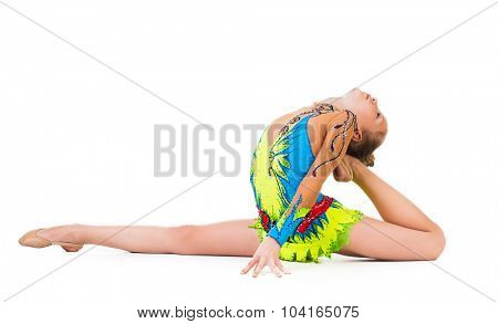 tittle gymnast doing an exercise isolated on white background