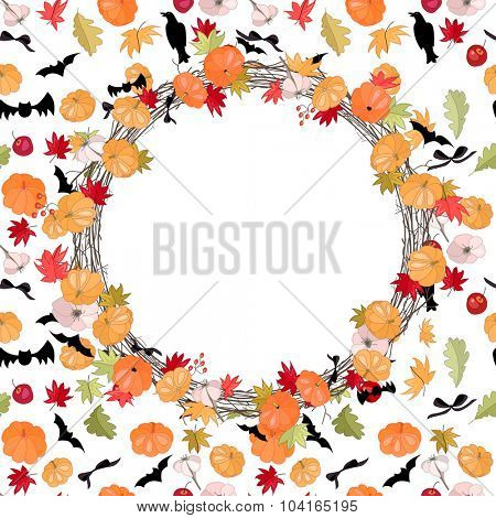 Round Halloween wreath with pumpkins and bats. For Halloween design, announcements, postcards, posters.