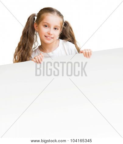beautiful little girl with  board isolated on a white background