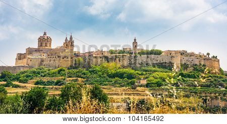scenic view on historical town of Mdina in Malta