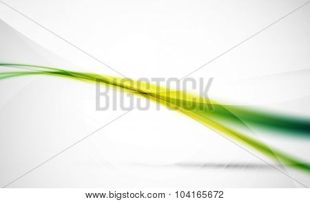 Green wave line in light space. Abstract background for your message