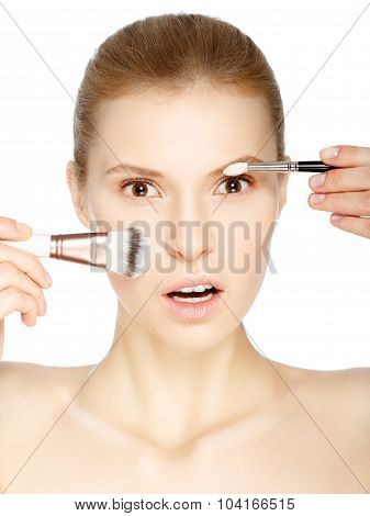 Beauty Girl With Makeup Brushes