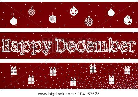 Happy December Christmas background design