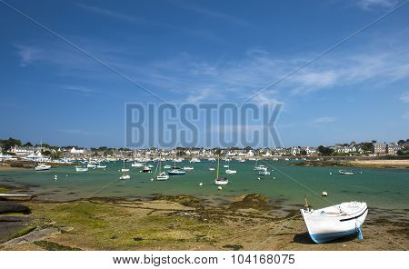 Fishing boat at ebb tide in Bretagne France
