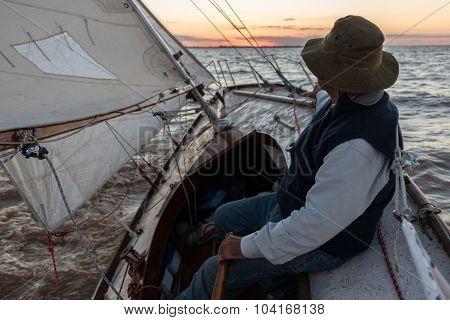 Skipper, Captain  Sailing At Rio De La Plata River, Buenos Aires.