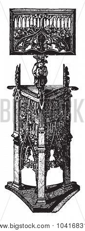 Carved wooden pulpit (XV century), vintage engraved illustration. Industrial encyclopedia E.-O. Lami - 1875.
