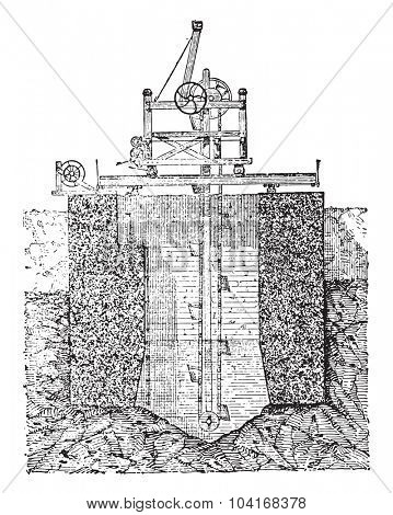Foundation for hollow block, vintage engraved illustration. Industrial encyclopedia E.-O. Lami - 1875.