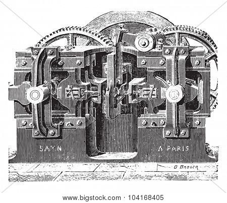 Forging machine nuts, vintage engraved illustration. Industrial encyclopedia E.-O. Lami - 1875.