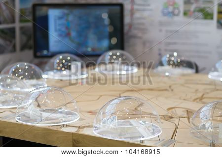 MOSCOW - OCT 30, 2014: Model of small ring of Moscow Railway at city transport exhibition ExpoCityTrans 2014