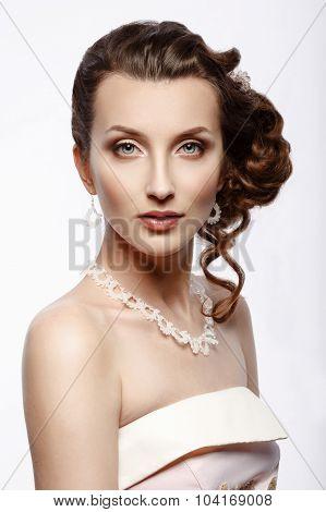 Bride. Portrait Of A Beautiful Woman In A Pink Wedding Dress.
