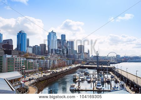 Beautiful pier view in Seattle with cityscape, USA
