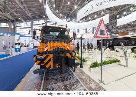 MOSCOW - OCT 30, 2014: Truck Unimog U400 (Mercedes Benz) at exhibition city transport ExpoCityTrans 2014