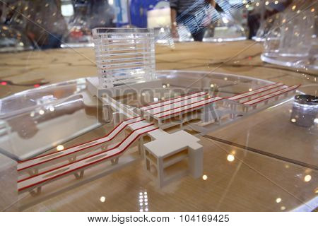 MOSCOW - OCT 30, 2014: Model of Railway station at exhibition city transport ExpoCityTrans 2014