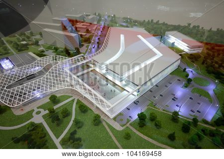 MOSCOW - OCT 30, 2014: Model of multi-level parking closeup at exhibition city transport ExpoCityTrans 2014