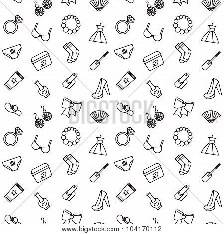 Woman Accessories Seamless Pattern Of Cosmetics, Clothes