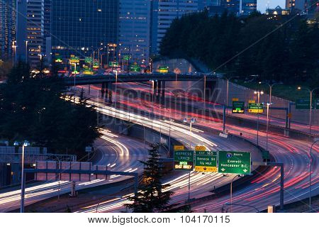 View of highway in Seattle during night time